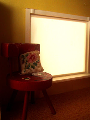 Vintage Lundby dolls' house window and chair.