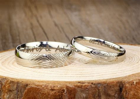 Your Actual Finger Print Rings, His and Hers Matching