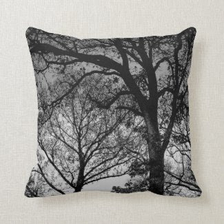 Black and White Oak Trees in Winter Throw Pillow Pillows