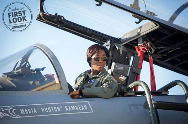 A promotional still of F-15 fighter pilot and Carol Danvers' best friend Maria Rambeau (Lashana Lynch) in CAPTAIN MARVEL.