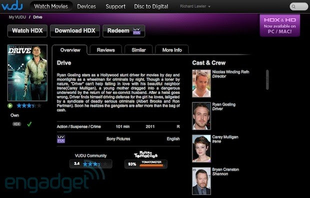 Vudu brings HDX 1080p streaming, downloadable movies to PCs