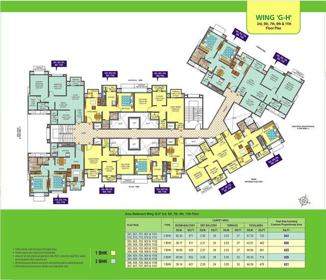 Wing G H & I J - Floors - 3, 5, 7, 9, 11 at DSK Meghmalhar Phase 2, 1 BHK & 2 BHK Flats at DSK Vishwa, Dhayari Gram Panchayat, off Sinhagad Road, Pune 411 041