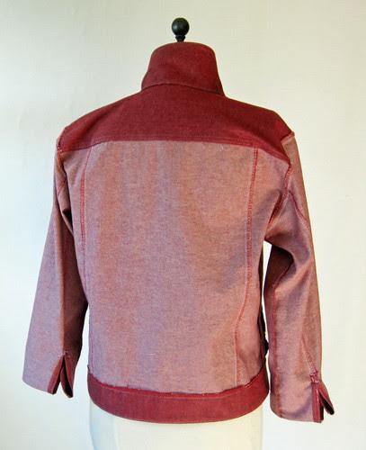 red denim jacket inside back view