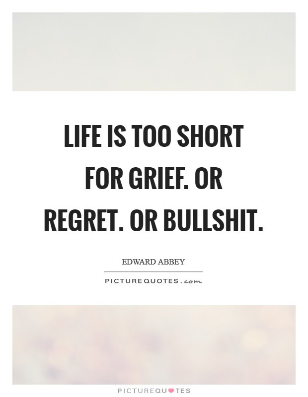 Life Is Too Short For Grief Or Regret Or Bullshit Picture Quotes