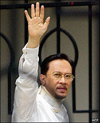 Anwar Ibrahim, after winning his appeal, 02/09/04