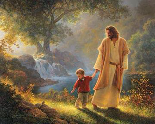 [Drawing of Jesus walking hand-in-hand with a little child]