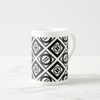 Black Equal Sign Geometric Pattern on White Tea Cup