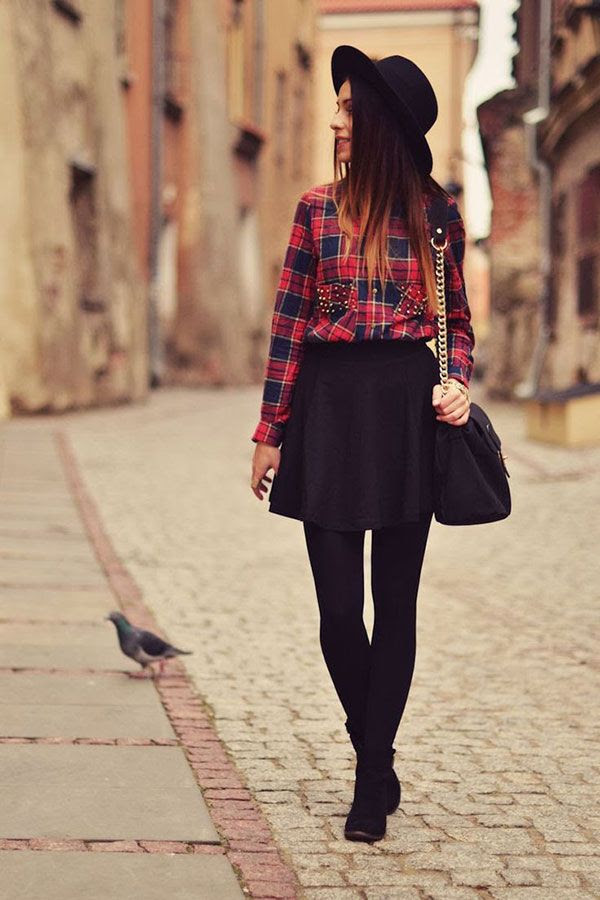 make a plaid shirt look infinitely chic by ticking it into a skater skirt. you can wear this with tights in the winter; sandals in the summer