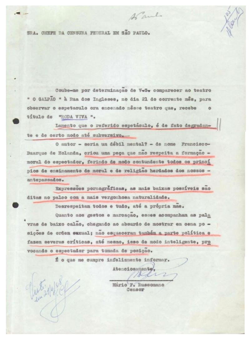 """Figura 7 – Carta de censura à peça """"Roda Viva"""" de Chico Buarque de Hollanda( Fonte: Os Aparecidos Políticos)"""