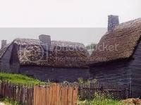 English-style thatched cottages built by the Pilgrims at Plymouth Colony