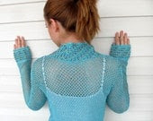 Crochet Vest Summer Top Beach Wear Lace Tank Turquoise Blue Romantic Top Summer Fashion - SmilingKnitting