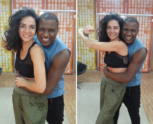 Claudia Ohana está entrosada com o professor Patrick Carvalho (Foto: Domingão do Faustão/TV Globo)