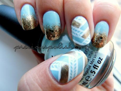 """glitter + fishtails (fishtail tutorial here) """"Woven Gold"""" on preciouspolish.com"""