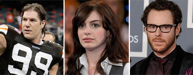 From left, Cleveland Browns linebacker Scott Fujita (Bill Haber/AP Photo); Anne Hathaway (Paul Hawthorne/AP Photo); Facebook co-founder Sean Parker (Chris Pizzello/AP Photo).