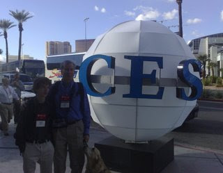 Mike and Carson in front of CES globe
