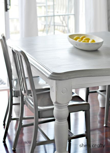 painted gray and white kitchen table