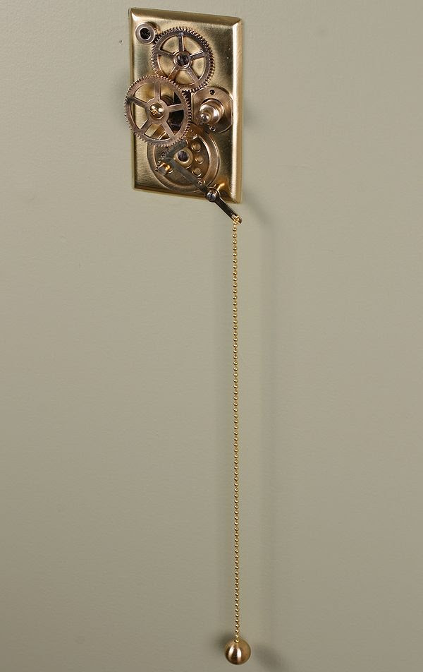 I just LOVE this Steampunk light switch. http://steampunkworkshop.com/steampunk-home-decor-light-switch-plates