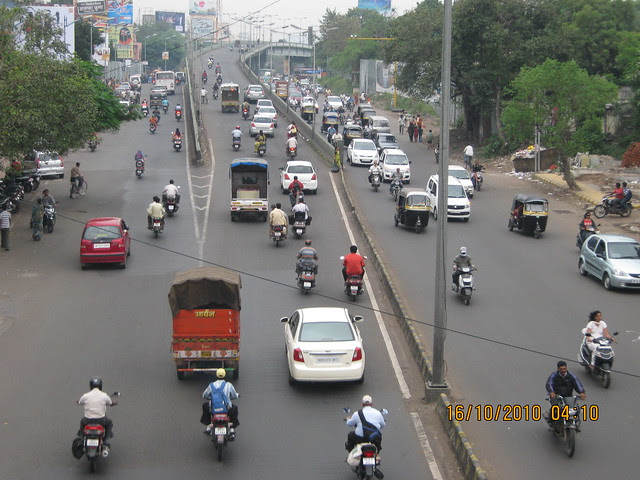 View from the foot bridge at SNDT on Karve Road in Pune