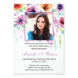 Elegant Watercolor Floral Graduation Announcement