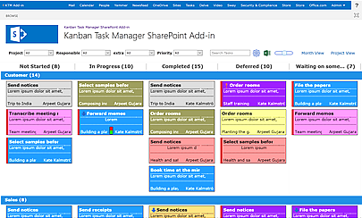 Kanban Task Manager kanban board in SharePoint