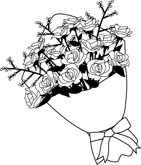 花束 花の素材 イラストポップ白黒 薔薇の花イラスト画像バラ