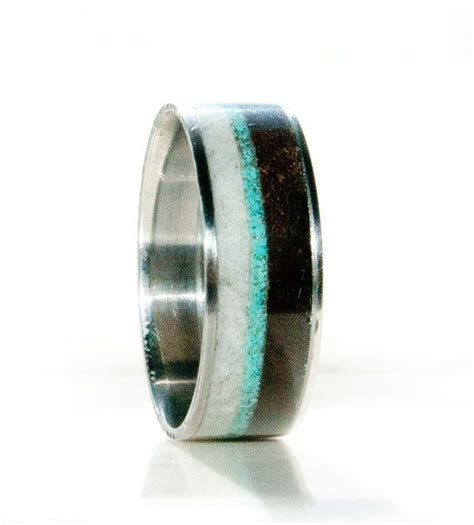 Mens Wedding Band Antler, Wood and Turquoise Ring
