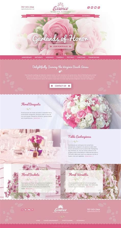 Essence Wedding Flowers Landing Page Design Proposal   Web