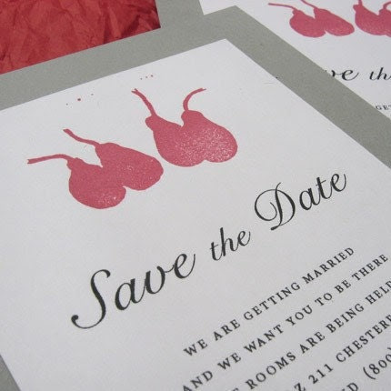 Four Little Red Pears - Save the Date cards