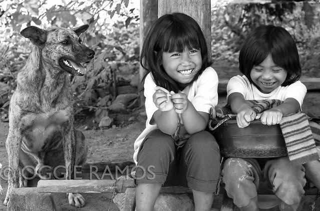 Bangaan - Smiling Children and Smiling Dog BW