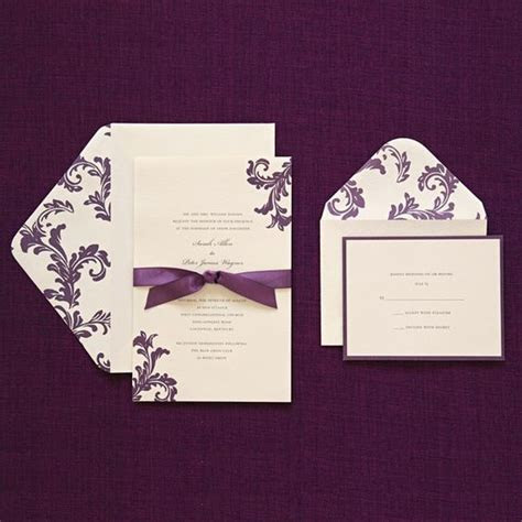 40/$40 includes response cards & purple ribbon print at