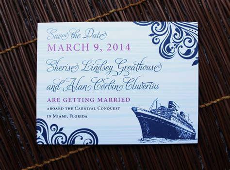 Navy & Fuchsia Swirls & Cruise Ship Wedding Save the Date
