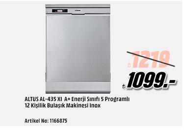 ALTUS AL-435 XI A+ Enerji Sınıfı 5 Programlı 12 Kişilik Bulaşık Makinesi Inox 1099TL