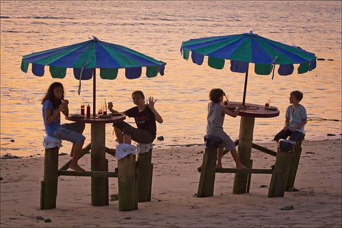 Sunset dinner for the kids at The Beach Bar