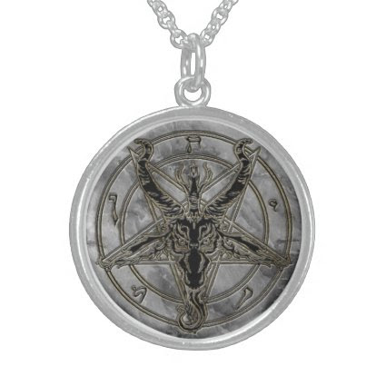 Gold and marble Baphomet Necklace