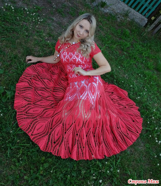 "Coral dress to the floor, ""Leaves"" (many photos + Add your photos with professional photo shoot)"