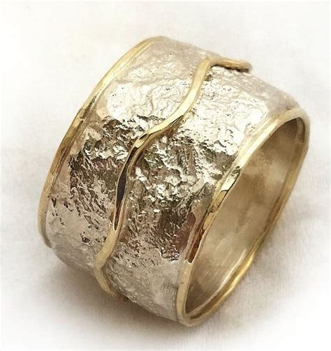 Wide textured women's wedding ring, handmade silver gold