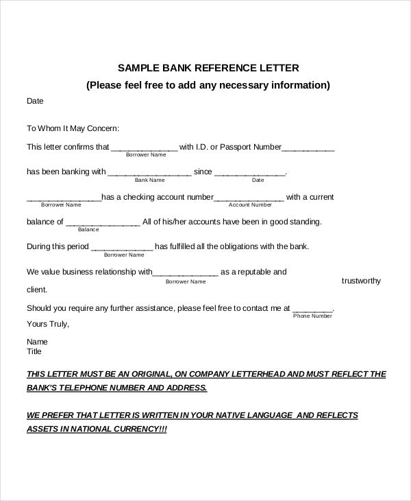 8 Sample Bank Reference Letter Templates Pdf Doc