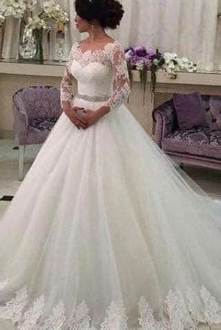 Long Sleeve Ball Gown Lace Tulle Wedding Dress,Ivory