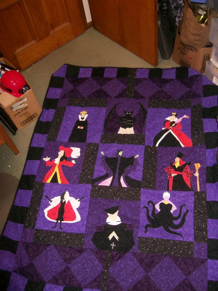 Disney Villain Quilt - I would replace the villains with hero's. I love the design
