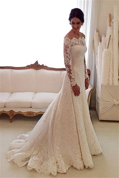 White Off the shoulder Lace Long Sleeve Bridal Gowns
