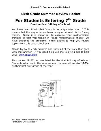 Summer Math Packet For 8th Grade Answers in ing middle