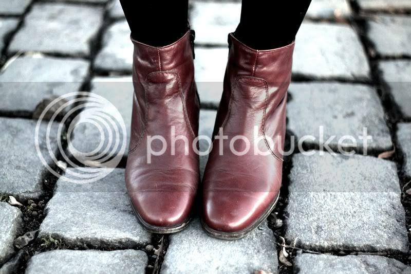 vintage leder stiefeletten, cognac ankle boots