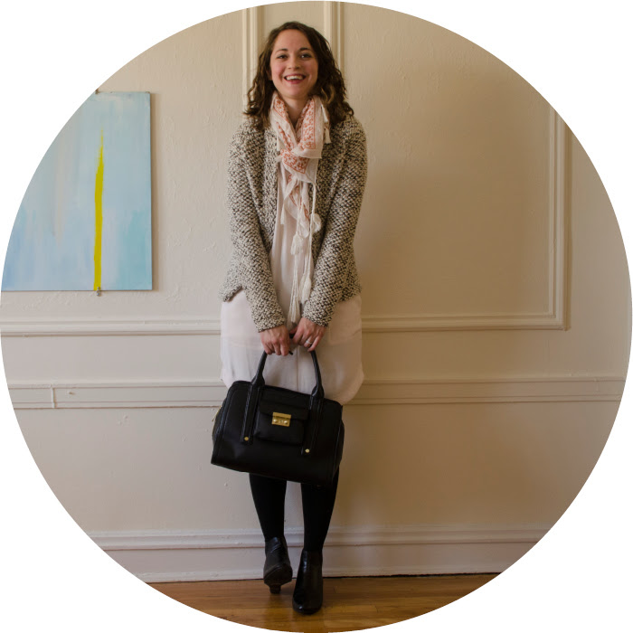 twenty-five, j.crew cardigan, wool cardigan, tassel scarf, pattern mixing, wearing white in the winter, what to wear to work, creative young professional