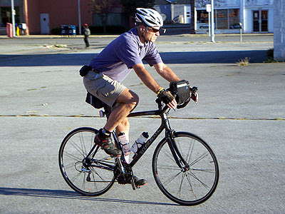 Carl Voss on his bicycle