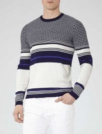 Reiss Sultan Contrast Textured Jumper Blue/black
