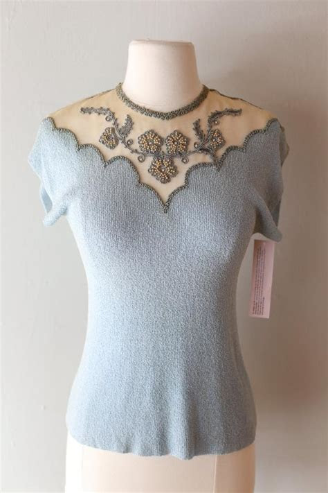 Vintage 1940s Light Blue Knit Top With Illusion Neckline
