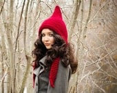 Hand Knit Hat Womens Hat - Pixie Hat in Red Cranberry - Chunky Knit Winter Accessories - pixiebell