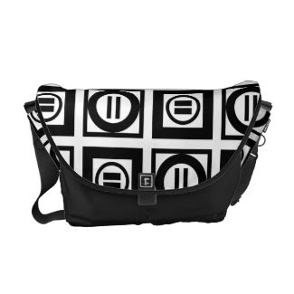 Black and White Geometric Equal Sign Pattern Courier Bags