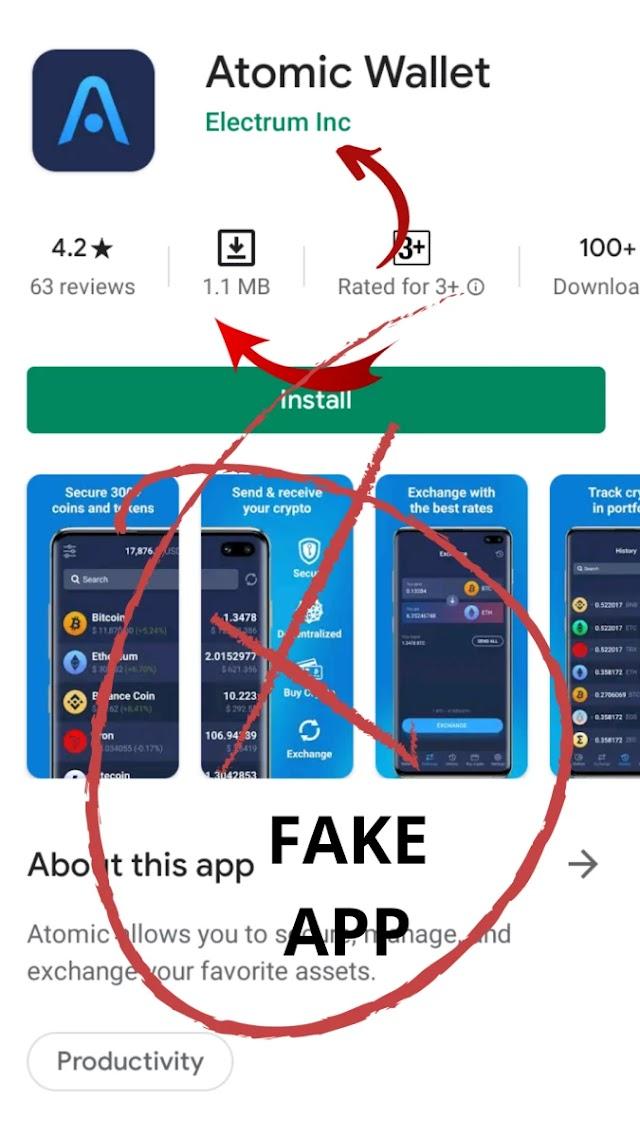 Warning 🚨 Fake Atomic Wallet App avilable on Google Play Store