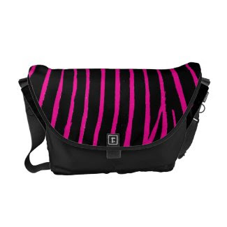 Black and Pink Zebra Print rickshawmessengerbag